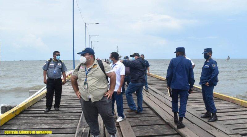 """El Distrito Naval Caribe en coordinación con la Empresa Portuaria Nacional (EPN) y otras instituciones del Estado, del 15 al 17 de junio de 2021, participaron en la """"Evaluación de las condiciones del muelle de Puerto Cabezas, tras el paso de los huracanes ETA e IOTA""""."""