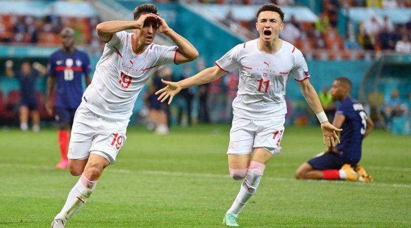 Jugadores de la selección de Suiza tras vencer a Francia