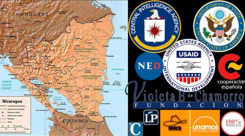 Logos de agencias estadounidenses, medios de comunicación y organizaciones políticas que fueron financiados a través de la Fundación Violeta Chamorro en Nicaragua.