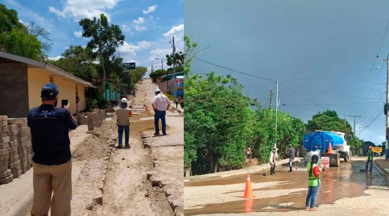 Trabajadores de ENACAL en restauración y limpieza de calles en Cusmapa