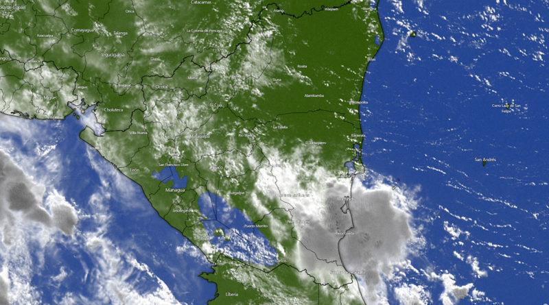 Imagen satelital de Nicaragua bajo la influencia de la tormenta tropical Elsa en el Mar Caribe nicaragüense.