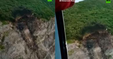 Lugar del accidente aéreo en Kamchatka, Rusia, donde al menos 28 personas fallecieron