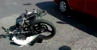 Motocicleta después de accidente de tránsito