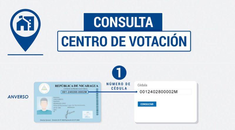 Imagen sobre el proceso para verificar el centro de votación en la página web del CSE