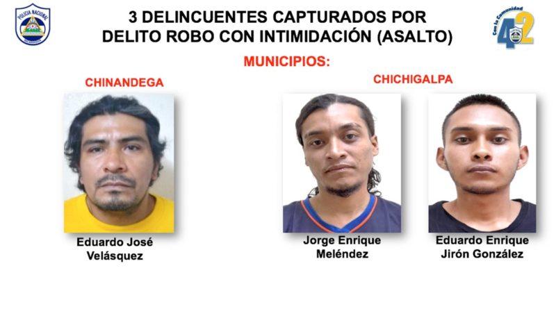 Delincuentes capturados por la Policía Nacional en Chinandega