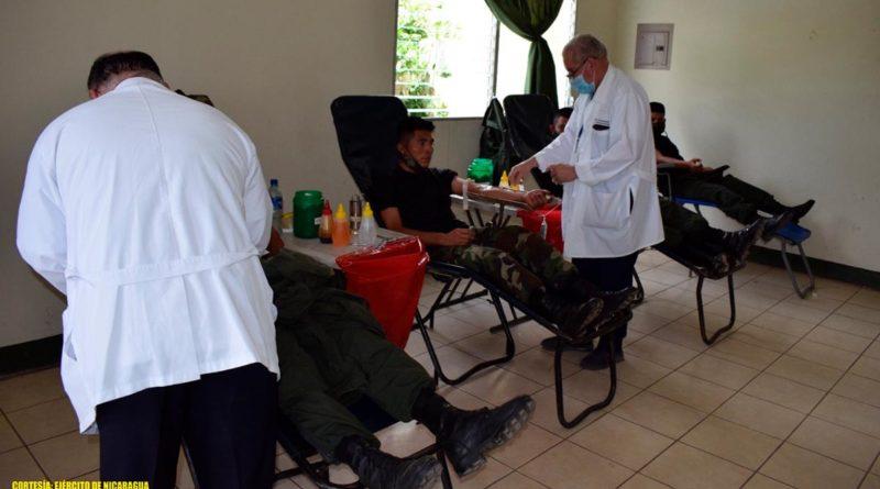 Efectivos del Ejército de Nicaragua realizan donación de sangre en Estelí