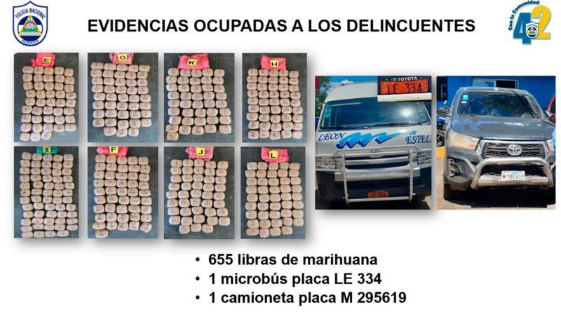 655 libras de marihuana y microbús incautado al narcotráfico.