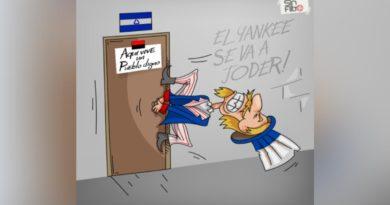 """Ilustración de Estados Unidos intentando inmiscuirse en los asuntos internos de Nicaragua con sus """"candidatos presidenciales""""."""