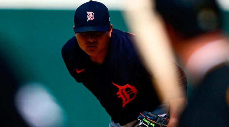 Erasmo Ramírez jugando para los Tigres de Detroit en Grandes Ligas