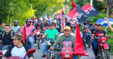 Militancia Sandinista en una de las caravanas realizadas este primero de julio