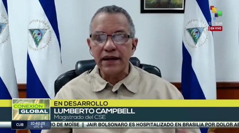 Comandante Lumberto Campbell, Magistrado del Consejo Supremo Electoral en entrevista con la cadena TeleSUR.