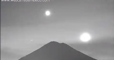 Luna, Venus y Marte caen sobre el volcán Popocatépetl