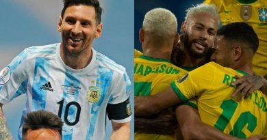 Leo Messi de Argentina y Neymar de Brasil.