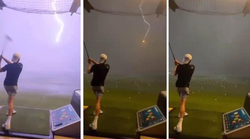 Sorpréndete y aterrador un rayo impacta en una bola de golf