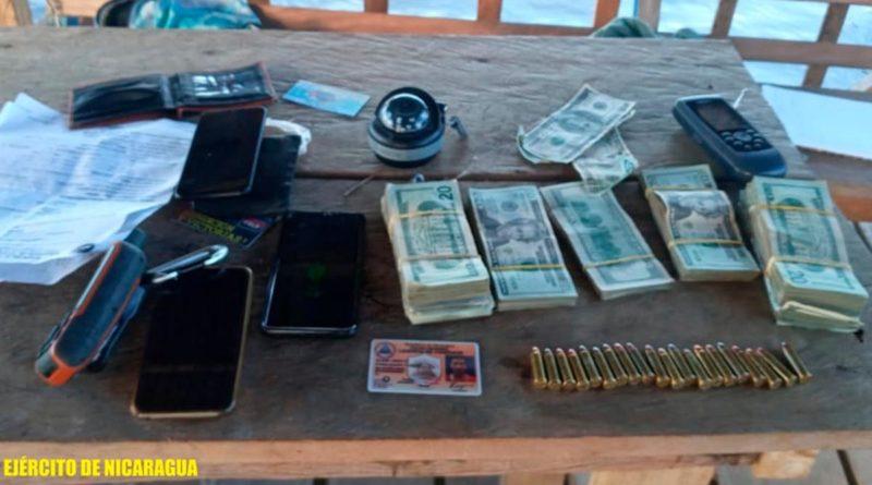 Dinero y proyectiles retenidos por el Ejército de Nicaragua en Laguna de Perlas