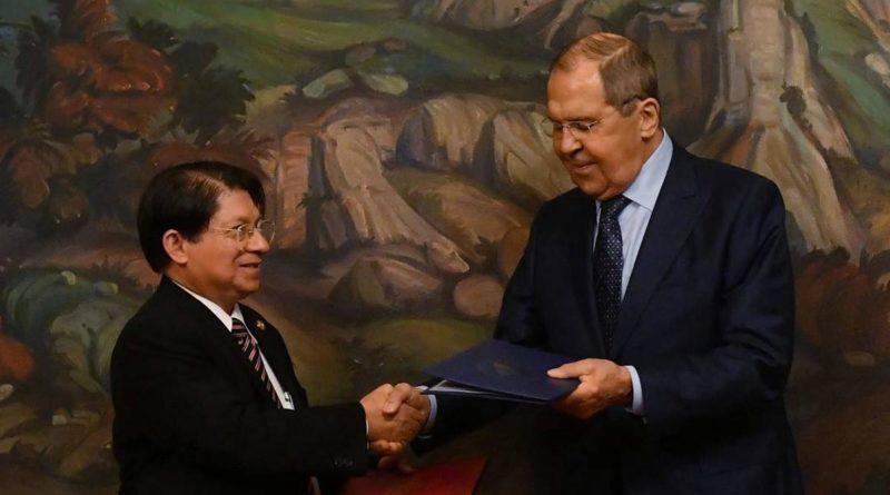 Canciller Denis Moncada y Canciller de Rusia, Serguéi Lavrov