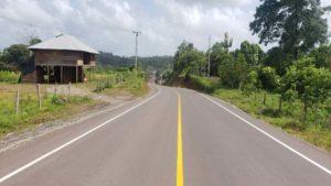 Nueva carretera que será inaugurada por el MTI en El Rama