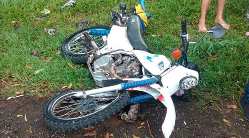 Motocicleta después de un accidente