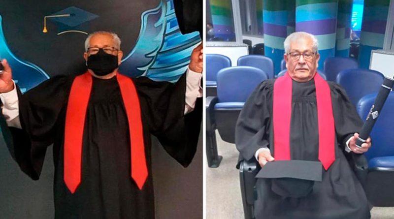 Anciano de 79 años se logra graduar de Ciencias Jurídicas