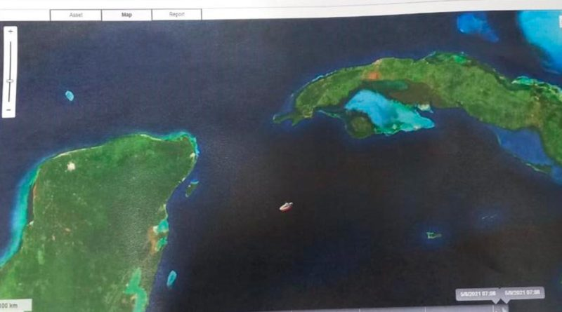 Ubicación de barco General Augusto C. Sandino, con trayectoria hacia la Isla de Cuba