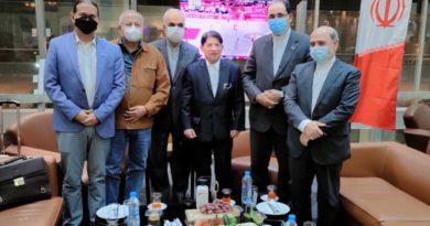 Canciller Denis Moncada y doctor Carlos Sáenz durante su visita a Irán