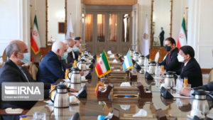 Canciller de Nicaragua, Denis Moncada, en reunión con el Doctor Mohammad Javad Zarif, Canciller de la República Islámica de Irán.