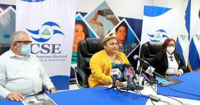 Magistrados del Consejo Supremo Electoral durante una conferencia de prensa brindada este lunes 23 de agosto