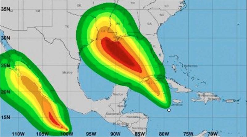 Vista satelital de la depresión tropical 9 en el Mar Caribe occidental