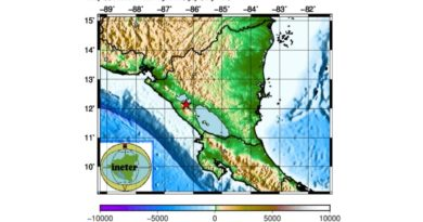 INETER reportó sismo de 3 grados la tarde este lunes