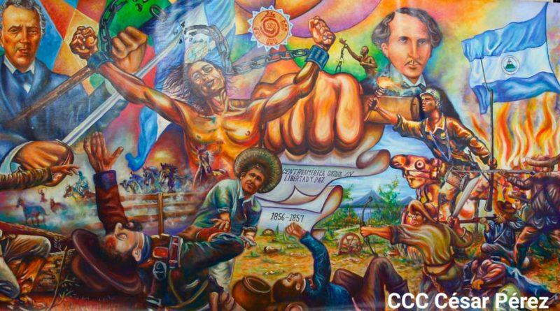 Mural de la Guerra Nacional de 1856 - 1857, elaborado por el joven Rolando Bojorges, del municipio de Diriamba, con el apoyo del historiador Clemente Guido.