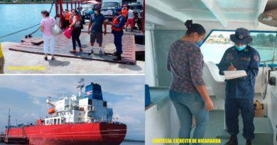 Efectivos de la Fuerza Naval de Nicaragua brindando protección, seguridad e inspección a embarcaciones y flota pesquera industrial que zarparon en los principales puertos del país.