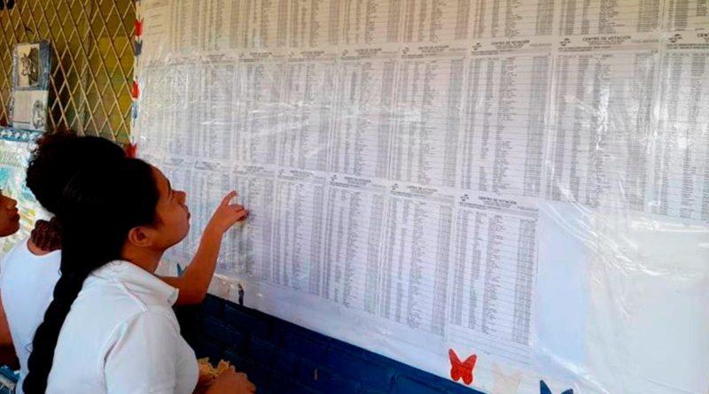 Familias nicaragüenses verificándose en el Padrón Electoral Preliminar en su Centros de Votación