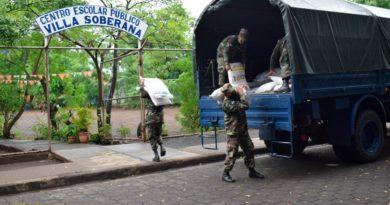 Ejército de Nicaragua garantiza cargue, traslado y descargue de merienda escolar