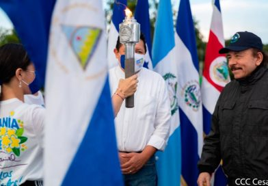 Presidente Comandante Daniel Ortega recibimiento la Antorcha de la Libertad Centroamericana.