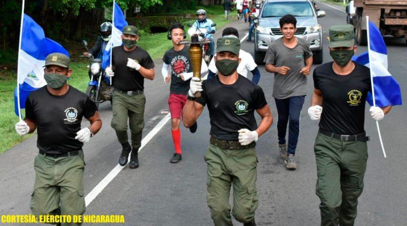 Ejército de Nicaragua realizó traslado de la Antorcha de la Libertad Centroamericana