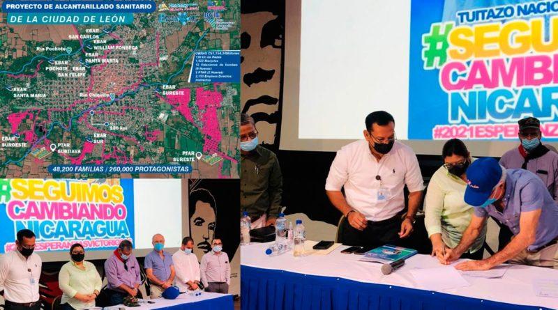 Acto donde se firmó oficialmente el inició de las obras del Proyecto de Mejoramiento y Ampliación del Sistema de Alcantarillado Sanitario y Tratamiento de la ciudad de León.