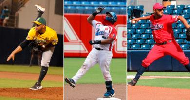 Jugadores de los Indios del Bóer, Dantos e Indígenas de Matagalpa en sus respectivas series del Pomares 2021.