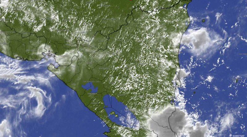 Imagen satelital del clima sobre Nicaragua