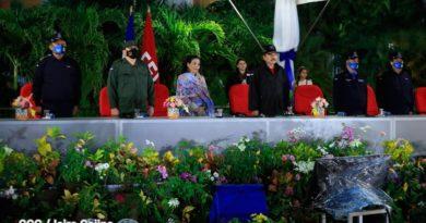 Presidente Daniel Ortega, Compañera Rosario Murillo, Primer Comisionado, Francisco Javier Díaz Madriz y el Comandante en jefe del Ejército de Nicaragua, general de Ejército Julio Cesar Avilés Castillo en el 37 Aniversario de la DOEP.