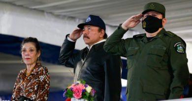 Presidente Comandante Daniel Ortega, la Vicepresidenta Compañera Rosario Murillo y el Comandante en jefe del Ejército de Nicaragua, general de Ejército Julio Cesar Avilés Castillo.