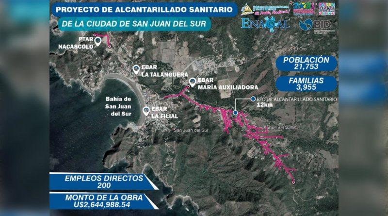 Avanzan obras de ampliación del sistema de alcantarillado en San Juan del Sur