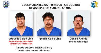 Delincuentes capturados por la Policía Nacional de Nicaragua acusados por delitos de asesinatos y abuso sexual