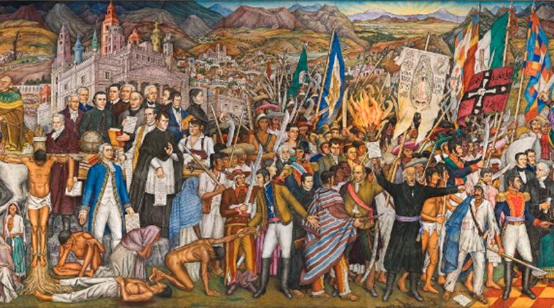 Mural de la independencia de México que refleja diferentes etapas de la lucha de independencia.
