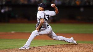 El lanzador nicaragüense Jonathan Loáisiga en un juego de los Yankees de Nueva York.