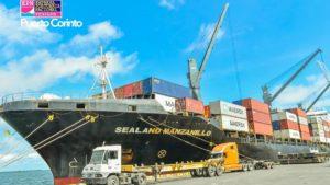 Imagen de uno de los buques con contenedores atendidos en los puertos de Nicaragua