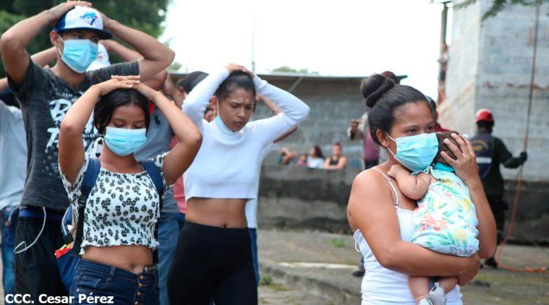 Nicaragüenses participando en el Tercer Ejercicio Nacional para Proteger la Vida
