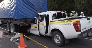 Vista de la camioneta tras impactar contra el camión que se encontraba estacionado sobre la carretera