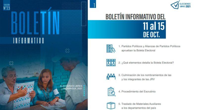Edición #23 del Boletín Informativo - Elecciones Libres Nicaragua, 2021