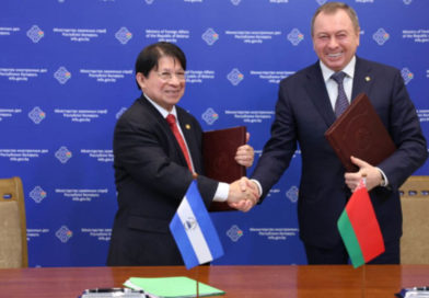 Canciller de Nicaragua junto al Canciller de Belarús Vladímir Makey