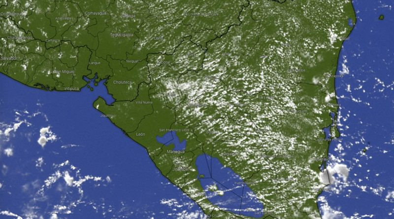 Foto: Windy / Imagen satelital del Clima en Nicaragua.